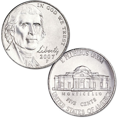 Image for 2007-P Jefferson Nickel, Uncirculated-60 from Littleton Coin Company