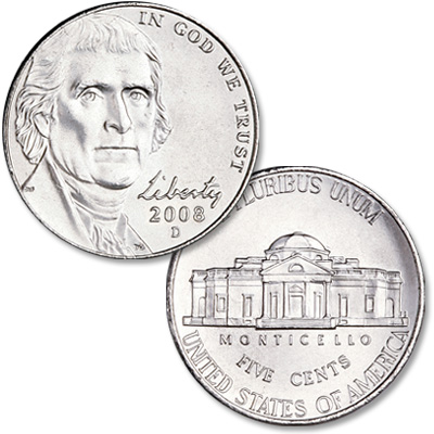 Image for 2008-D Jefferson Nickel, Uncirculated, MS60 from Littleton Coin Company