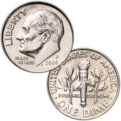 Image for 2008-P Roosevelt Dime, Uncirculated, MS60 from Littleton Coin Company