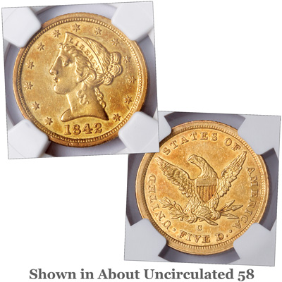 Image for 1842-C Liberty Head $5 Gold Half Eagle, Large Date from Littleton Coin Company