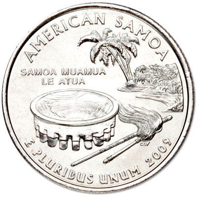 Image for 2009-P American Samoa Territories Quarter, Uncirculated, MS60 from Littleton Coin Company