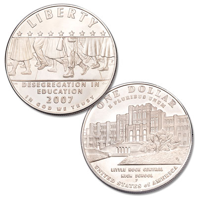 2007 BU Little Rock Central High School US Mint Commemorative Silver Dollar Coin