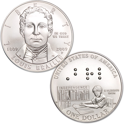 Image for 2009-P Louis Braille Silver Commemorative Dollar from Littleton Coin Company