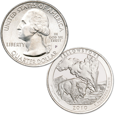 Image for 2010-P Yellowstone America's National Park Quarter from Littleton Coin Company