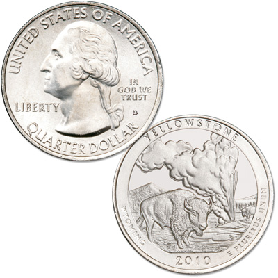 Image for 2010-D Yellowstone America's National Park Quarter from Littleton Coin Company