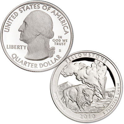 Image for 2010-S 90% Silver Yellowstone National Park Quarter from Littleton Coin Company
