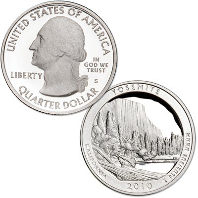 Image for 2010-S 90% Silver Yosemite National Park Quarter from Littleton Coin Company