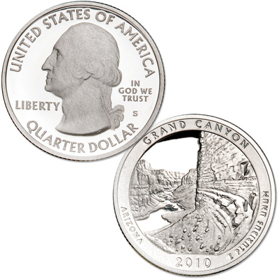 Image for 2010-S 90% Silver Grand Canyon National Park Quarter from Littleton Coin Company