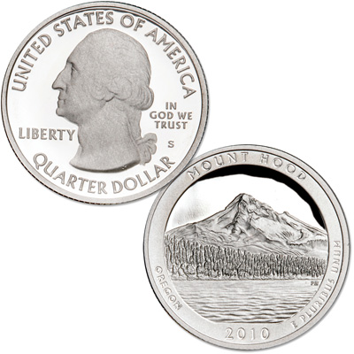 Image for 2010-S 90% Silver Mount Hood National Park Quarter from Littleton Coin Company