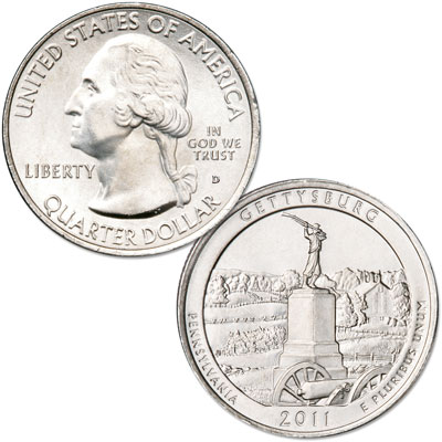 Image for 2011-D Gettysburg National Park Quarter, Uncirculated, MS60 from Littleton Coin Company