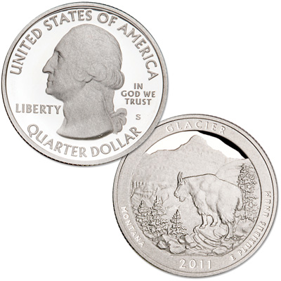 Image for 2011-S 90% Silver Glacier National Park Quarter from Littleton Coin Company