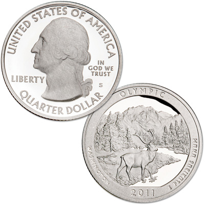 Image for 2011-S 90% Silver Olympic National Park Quarter from Littleton Coin Company