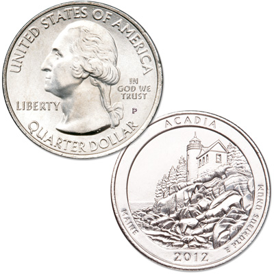 Image for 2012-P Acadia National Park Quarter from Littleton Coin Company