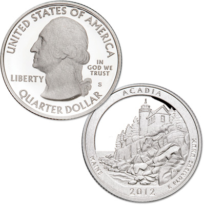Image for 2012-S 90% Silver Acadia National Park Quarter from Littleton Coin Company