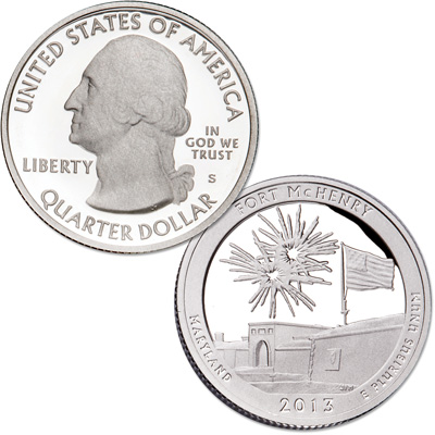 Image for 2013-S 90% Silver Fort McHenry National Monument and Historic Shrine Quarter from Littleton Coin Company