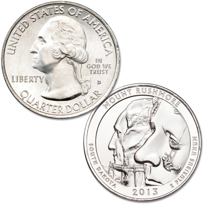 Image for 2013-D Mount Rushmore National Memorial Quarter from Littleton Coin Company