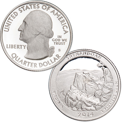Image for 2014-S 90% Silver Shenandoah National Park Quarter from Littleton Coin Company