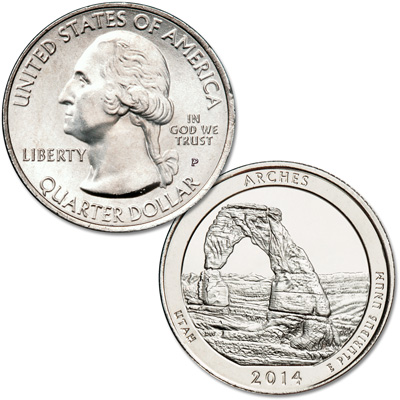 Image for 2014-P Arches National Park Quarter from Littleton Coin Company