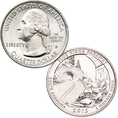 Image for 2015-P Blue Ridge Parkway Quarter from Littleton Coin Company
