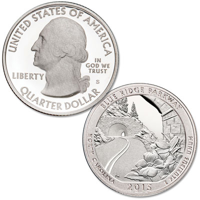 Image for 2015-S 90% Silver Blue Ridge Parkway Quarter from Littleton Coin Company