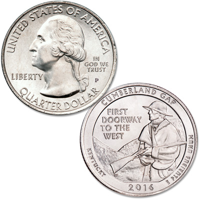 Image for 2016-P Cumberland Gap National Historical Park Quarter from Littleton Coin Company