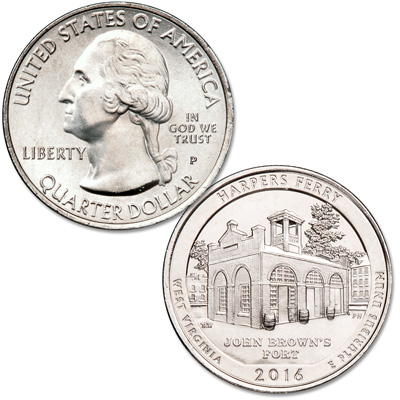 Image for 2016-P Harpers Ferry National Historical Park Quarter from Littleton Coin Company