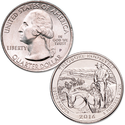 Image for 2016-P Theodore Roosevelt National Park Quarter from Littleton Coin Company