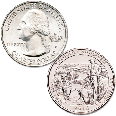 Image for 2016-D Theodore Roosevelt National Park Quarter from Littleton Coin Company