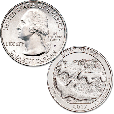 Image for 2017-P Effigy Mounds National Monument Quarter from Littleton Coin Company