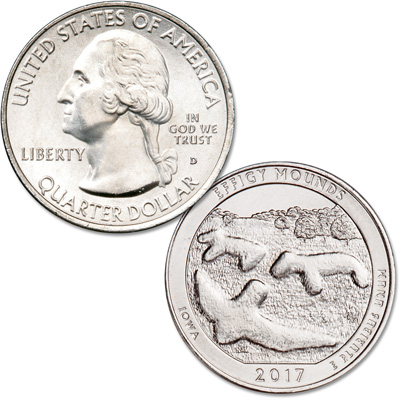 Image for 2017-D Effigy Mounds National Monument Quarter from Littleton Coin Company