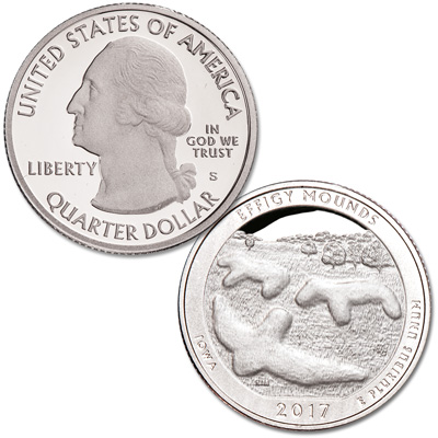 Image for 2017-S 90% Silver Effigy Mounds National Monument Quarter from Littleton Coin Company