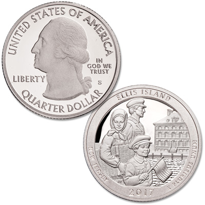 Image for 2017-S 90% Silver Ellis Island National Monument (Statue of Liberty) Quarter from Littleton Coin Company