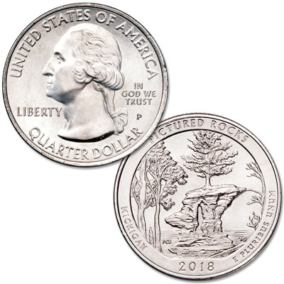 Image for 2018-P Pictured Rocks National Lakeshore Quarter from Littleton Coin Company