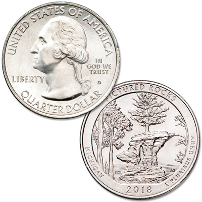 Image for 2018-D Pictured Rocks National Lakeshore Quarter from Littleton Coin Company