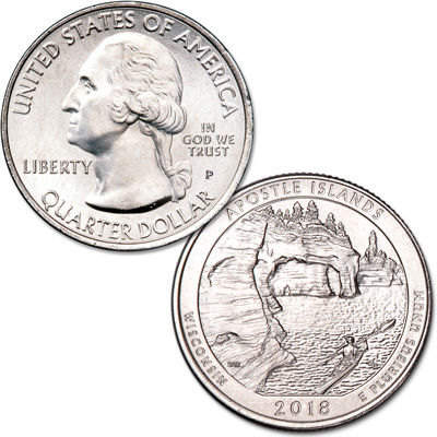 Image for 2018-P Apostle Islands National Lakeshore Quarter from Littleton Coin Company