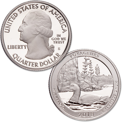 Image for 2018-S 90% Silver Voyageurs National Park Quarter from Littleton Coin Company