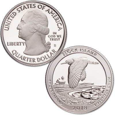 Image for 2018-S 90% Silver Block Island National Wildlife Refuge Quarter from Littleton Coin Company