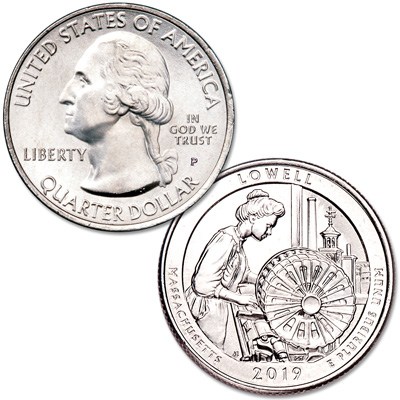 Image for 2019-P Lowell National Historical Park Quarter from Littleton Coin Company
