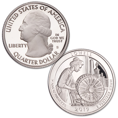 Image for 2019-S 99.9% Silver Lowell National Historical Park Quarter from Littleton Coin Company