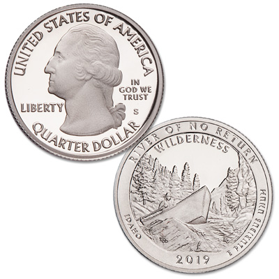 Image for 2019-S 99.9% Silver Frank Church River of No Return Wilderness Quarter from Littleton Coin Company