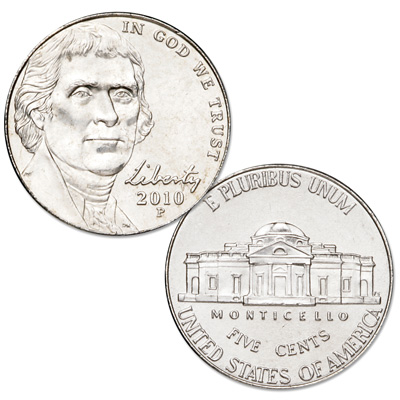 Image for 2010-P Jefferson Nickel, Uncirculated, MS60 from Littleton Coin Company