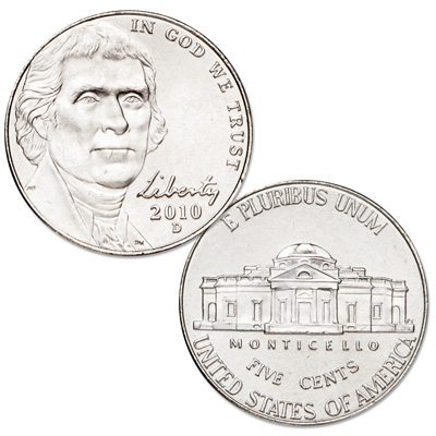 Image for 2010-D Jefferson Nickel, Uncirculated, MS60 from Littleton Coin Company