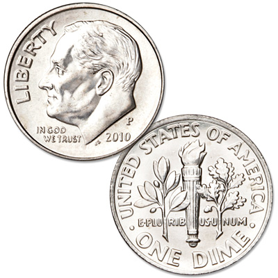 Image for 2010-P Roosevelt Dime, Uncirculated, MS60 from Littleton Coin Company
