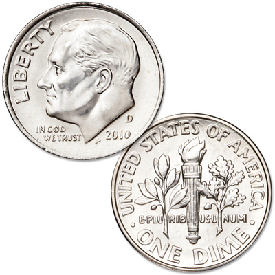 Image for 2010-D Roosevelt Dime, Uncirculated, MS60 from Littleton Coin Company