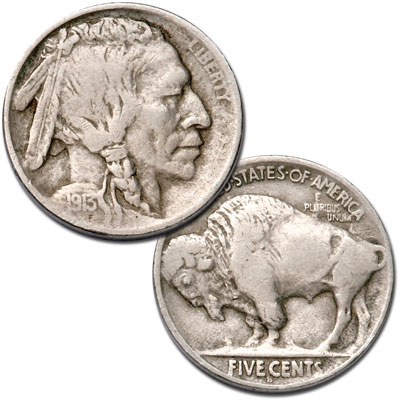 Image for 1913-S Buffalo Nickel, Variety 2, FIVE CENTS in Recess from Littleton Coin Company