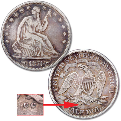 Image for 1874-CC Liberty Seated Half Dollar from Littleton Coin Company