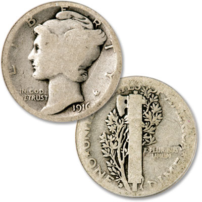 Image for 1916-D Mercury Silver Dime from Littleton Coin Company