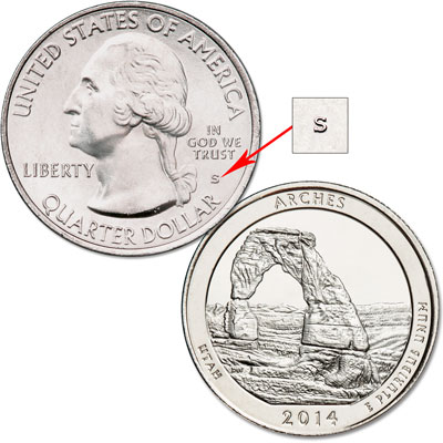 Image for 2014-S Unc. Arches National Park Quarter from Littleton Coin Company