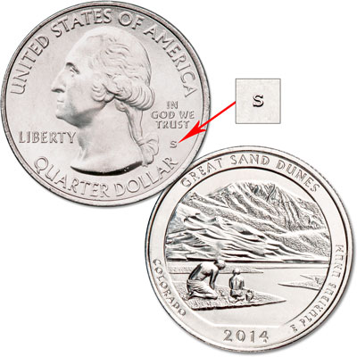 Image for 2014-S Unc. Great Sand Dunes National Park Quarter from Littleton Coin Company