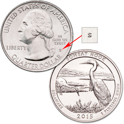 Image for 2015-S Unc. Bombay Hook National Wildlife Refuge Quarter from Littleton Coin Company